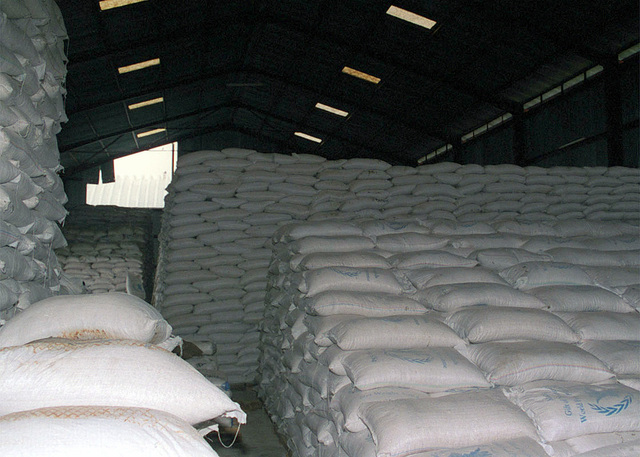 This World Food Programme (WFP) warehouse in Garissa shows the massive amount of food that is stockpilled prior to being shipped to the flightline to be loaded onto pallets for air delivery during Operation NOBLE RESPONSE '98. (Duplicate image, see also DM-SD-01-060410 or search 980303-M-4605W-001)