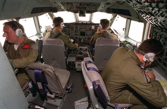 Crewmen aboard a British VC-10 K3 fueling tanker prepare for an air-to-air refueling mission with British GR-1 Tornado jets (Not shown) over Kuwait as part of the Southwest Asia build-up