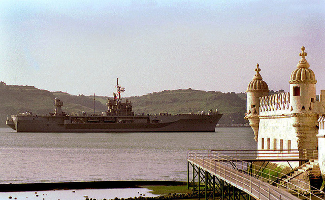 The Blue Ridge Class Comand Ship, USS MOUNT WHITNEY (LCC 20), departs Lisbon, Portugal, and prepares to take part in exercise Strong Resolve '98, Crisis South