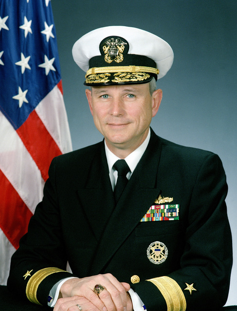 United States Navy Official photo of Rear Admiral (Lower Half, Line) Edward E. Hunter, Commander, Naval Training Center, Great Lakes. As of October 1998
