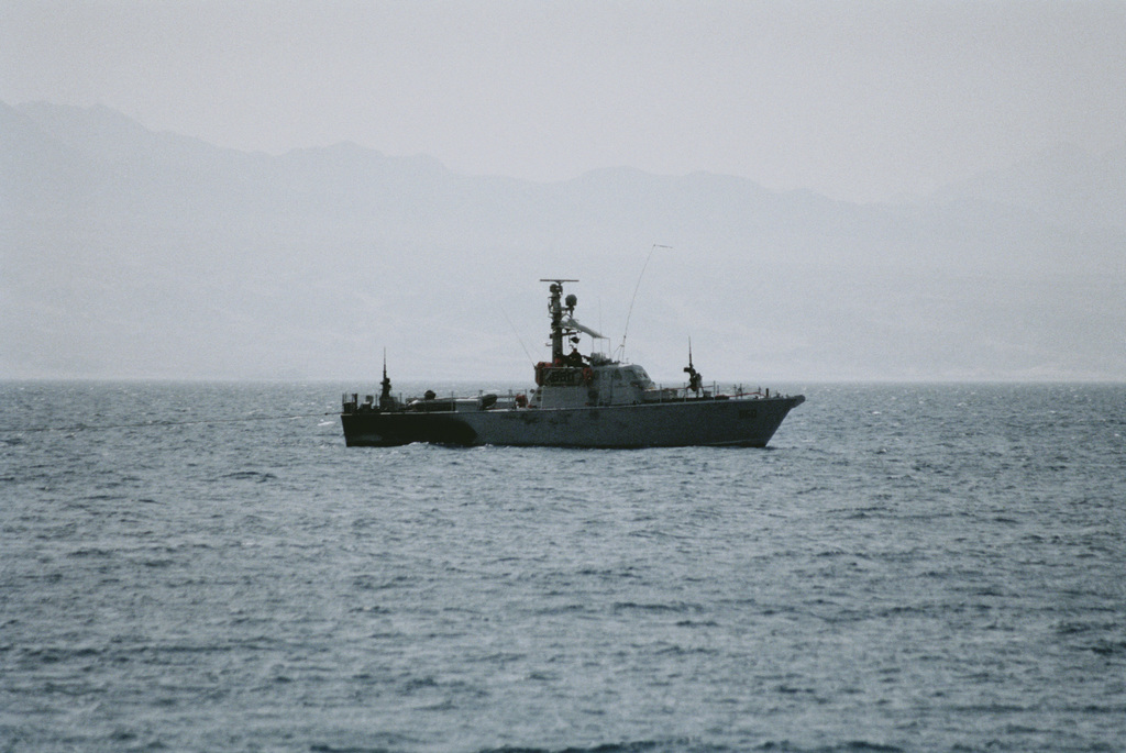 A starboard side view of the Israeli Dabar class (Coastal Patrol Craft) patrol boat PC 860 holding station in the Gulf of Aqaba off Eilat, Israel