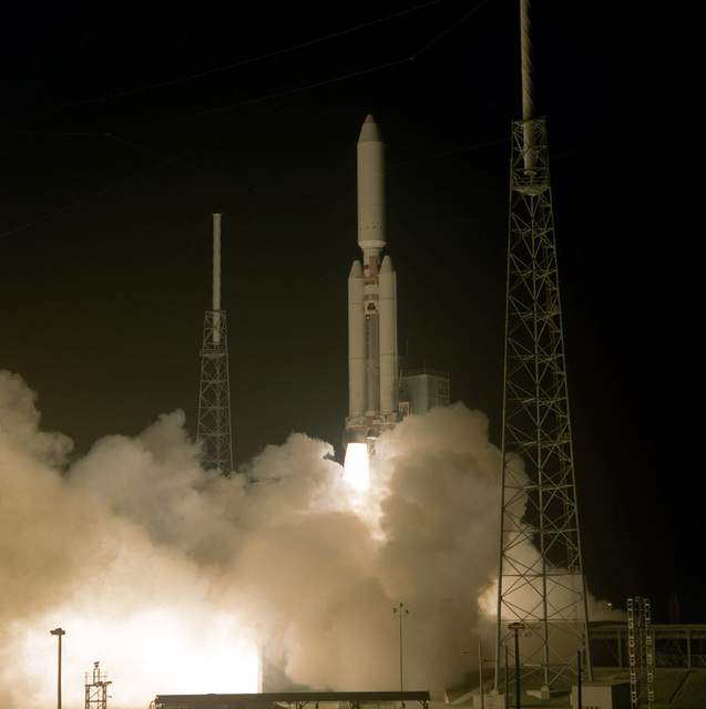 A Lockheed Martin Titan IV B-25 launch vehicle is launched successfully from complex 40 at Cape Canaveral carrying a National Reconnaissance Office payload