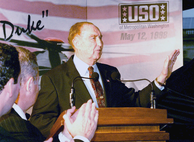 US Senator The Honorable Strom Thurman addresses the crowd gathered at the Capitol for the unveiling the Comanche helicopter as The Duke in honor of actor John Wayne
