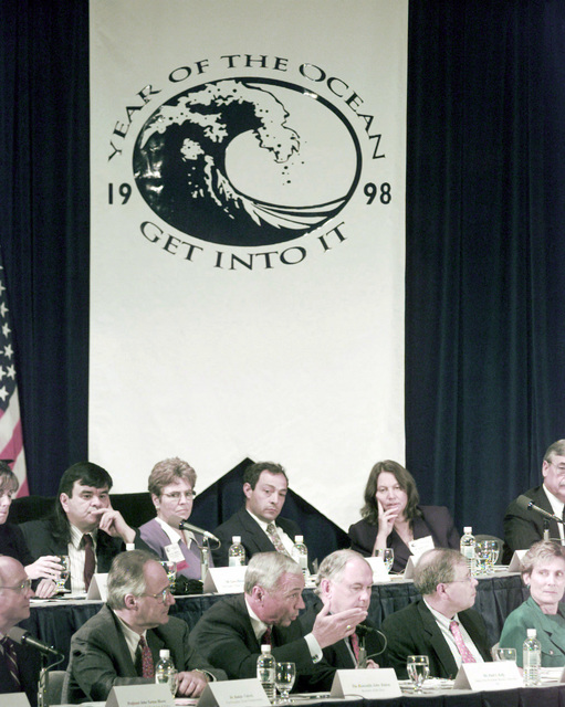 Secretary of the Navy John H. Dalton briefs Vice President Al Gore (not seen) and other members of the National Ocean Conference held in Monterey, California. Secretary Dalton chaired the Global Security Issue Forum panel along with Vice CHIEF of Naval Operations Admiral Donald L. Pilling