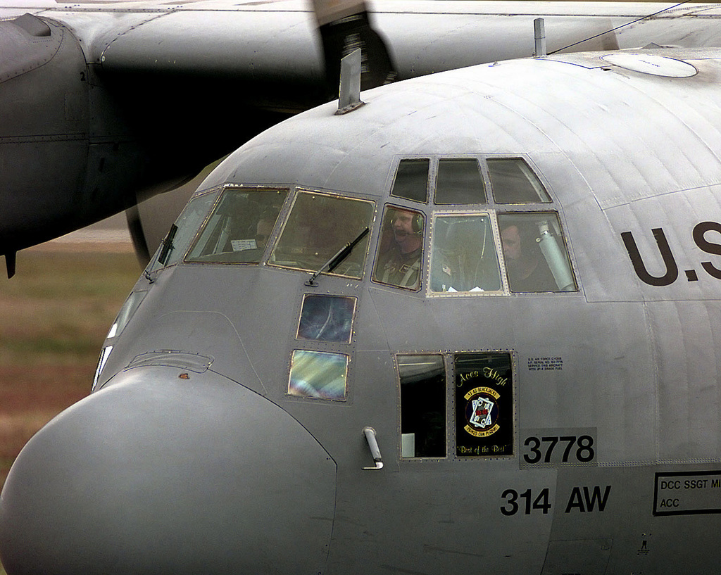 A US Air Force (USAF) ßTeam Little Rockß C-130 Hercules, 314th Airlift Wing (AW), Little Rock Air Force Base (AFB), Little Rock, Arkansas (AR), arrives at McChord AFB, Washington (WA), to participate in the US Air Force (USAF) Air Mobility Command (AMC) sponsored Rodeo 98 airlift competition