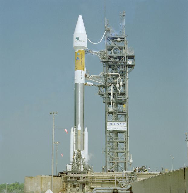The Intelsat 805 is poised atop the Lockheed Martin Atlas II AS (AC-135) launch vehicle in preparation for liftoff from complex 36A at Cape Canaveral