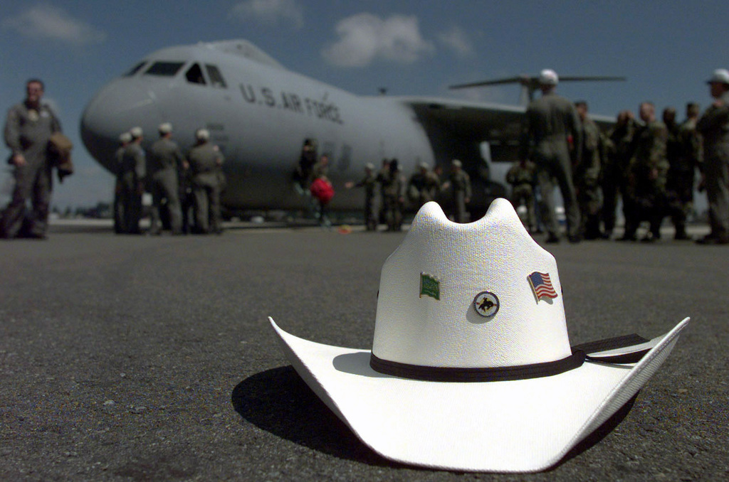 df253245e06 A Rodeo 98 STAFF members Cowboy Hat lies on the tarmac