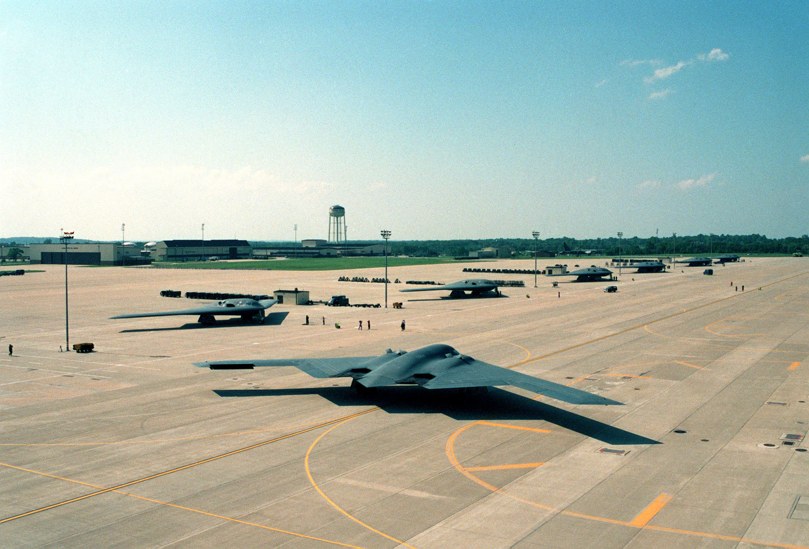 "A B-2 Spirit Bomber aircraft nicknamed ""The Spirit of Hawaii"" taxies to get into formation"