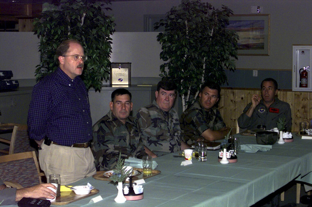 Acting Secretary of the Air Force, F. Whitten Peters, visited Luke Air Force Base, Arizona for a better understanding of the issues involved in the renewal of the Barry M. Goldwater range. Here, F. Whitten Peters discusses issues with senior enlisted Luke members during breakfast at the Ray V. Hensman dining facility