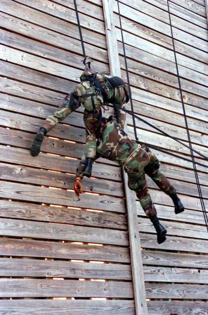 Marines from Bravo Company, 1ST Battalion, 6th Marines practice rescuing an unconscious man suspended on the repel and obstacle wall
