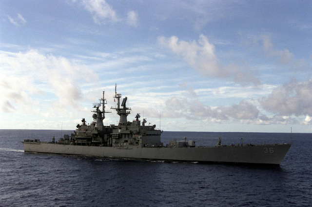 Starboard beam view of the California class cruiser USS CALIFORNIA (CGN-36) as she returns to Hawaii at the end of exercise RIMPAC '98