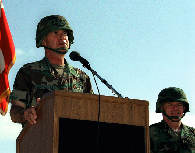 US Army General David Bramlett, Commander, Forces Command, gives remarks at the III Armored Corps and Fort Hood Change of Command Ceremony held at Sadowski Field, Fort Hood, Texas