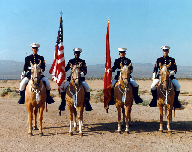 Yermo Annex. The Marine Corps Mounted Color Guard pose in full regalia