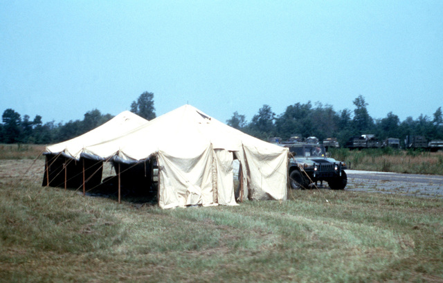 A view of the Command Post Tent for the North Carolina Army National Guard's Logistical Operations Support Area, located at the Kinston Airport, following Hurricane Bonnie