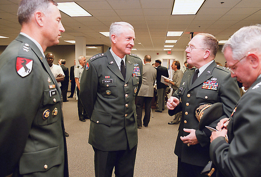 Pictured from left-to-right is US Army (USA) Major General (MGEN) Robert R. Ivany, Commander, Military District of Washington, US Army CHIEF of STAFF, General (GEN) Dennis J. Reimer, USA Brigadier General (BGEN) John W. Mountcastle Commander, Center of Military History, and USA Lieutenant General (LGEN) John A. Dubia, Director of the Army STAFF, as they chat inside the newly opened USA Center of Military History at Fort McNair, Washington, District of Columbia (DC)