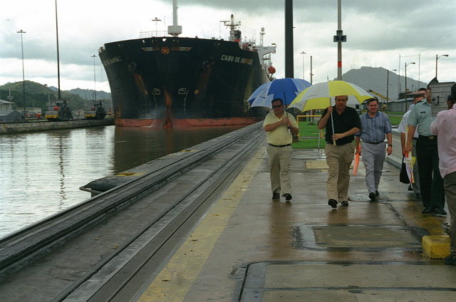 Members of the Civilian Aide to the Secretary of the Army. (left to right) Mr. Jose R. Colon from San Patricio, Puerto Rico, Mr. J. Wallace Schoettelkotte from Winter Park, Florida, and Mr. Robert G. Clarke from Randolph Center, Vermont tour the Miraflores Locks