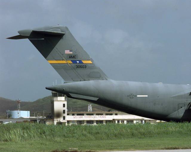USAF C-17 Globemaster III cargo aircraft carrying hurricane relief supplies lands at Naval Station Roosevelt Roads, Puerto Rico. The C-17 is one of many USAF Air Mobility Command (AMC) aircraft currently tasked to airlift equipment and supplies to Puerto Rico and neighboring Caribbean Islands struck by Hurricane George
