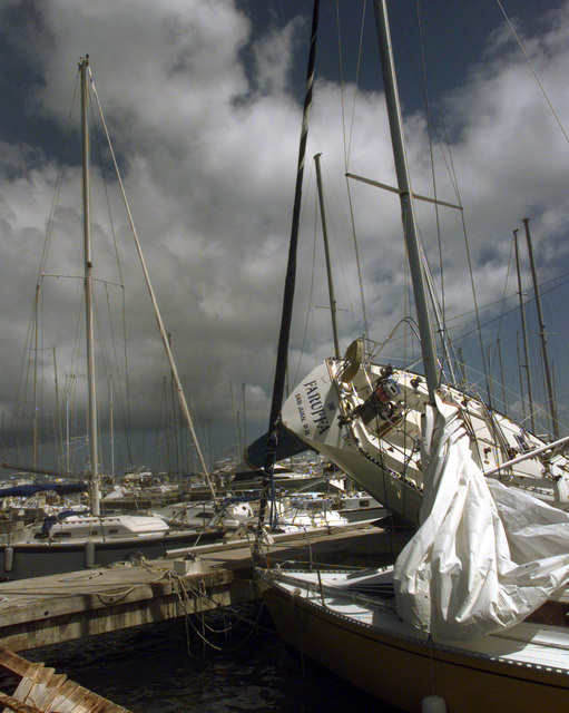 Boats at the Marina del Rey in Fajardo, Puerto Rico were literally lifted from their dock slips during Hurricane George's rampage. Hurricane George winds caused devastating damage to homes and property though out Puerto Rico and other neighboring Caribbean Islands