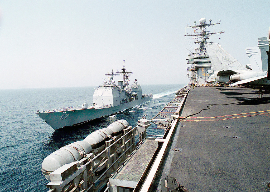 USS SHILOH (CG 67) comes alongside the USS ABRAHAM LINCOLN (CVN 72) in preparation for an underway replenishment. The ABRAHAM LINCOLN Battle Group is forward deployed to the Arabian Gulf in support of United Nations sanctions against Iraq