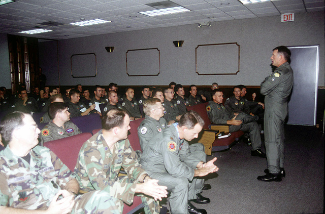 Colonel Ventiecher, Vice Wing Commander of the 2d Bomb Wing, Barksdale AFB, briefs B-52 Stratofortress aircrew members deploying to Royal Air Force Fairford, United Kingdom