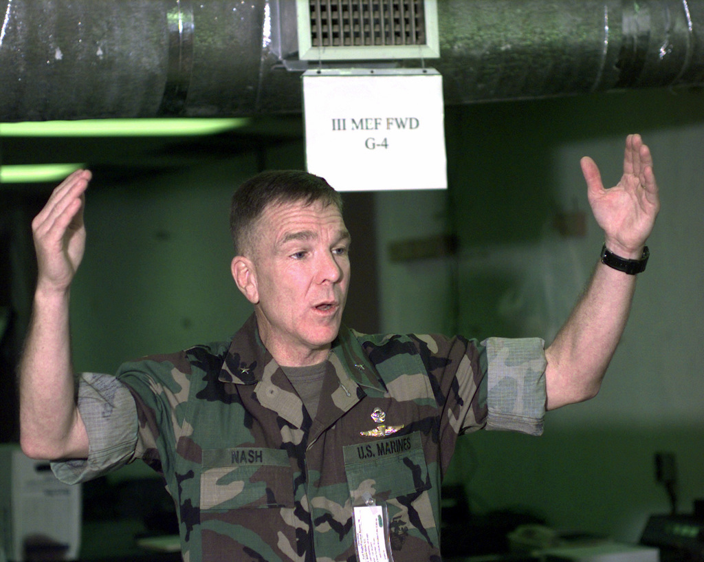 BGEN Gordon C. Nash, Commanding General, 3d Marine Expeditionary Force Forward, Marine Expeditionary Camp-Pohang (MEC-P), Pohang, South Korea, talks to the troops during his arrival at MEC-P, Oct. 11, 1998