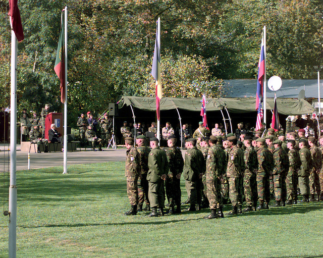 On 23 Oct 1998, US Army General Eric K. Shinseki, Commander of Stabilization Force (SFOR), relinquished his command to US Army General Montgomery C. Meigs, the commander of the U.S. Army combined Arms Center and Fort Leavenworth. Forty nations supporting Operation Joint Forge, participated in the change of command on the Ilidza Compound in Sarajevo, Bosnia. US Army General Wesley K. Clark, the Supreme Allied Commander of Europe, and Mr. Sergio Balanzino, NATO Deputy Secretary General, were the guest speakers for the ceremony