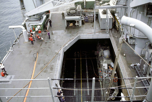 Inside the welldeck of the U.S. Ship USS GERMANTOWN LSD-42 sit Landing Craft Air Cushions (LCACs). These LCAC carry troops and equipment from ship to shore in a matter of minutes quickly securing beach heads. The USS GERMANTOWN and its crew are deployed to the Republic of Korea in support of Foal Eagle '98
