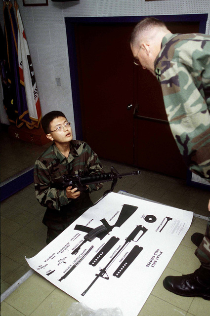 SSGT Steven Humes, a Platoon Instructor at the Korean Augmentee to the US Army (KATUSA) Training Center, Camp Jackson, Republic of Korea, evaluates a trainee on field stripping an M-16 Oct. 30, 1998. Originally begun in 1950, the KATUSA program was designed to augment US fighting forces just after the breakout of the Korean War. After the armistice KATUSA soldiers remained with 8th Army units to enhance mission capability. Korean enlistees attend a 20 day training program at the center where they refine their English language skills, and learn about American culture as well as US Army structure and methods