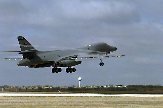 A US Air Force 9th Bomb Squadron, 7th Bomb Wing B-1B Lancer aircraft takes off from Dyess AFB, Texas in support of a United Nations (UN) resolution against Iraq