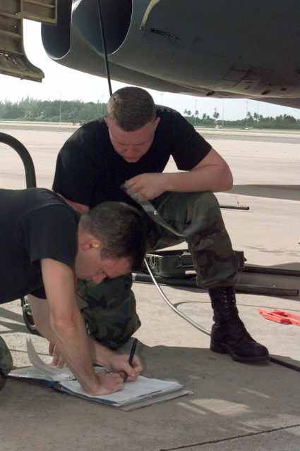 US Air Force STAFF Sergeant Bryon Trowbridge and US Air Force SENIOR AIRMAN Shane Coffman, 96th Bomb Squadron, Barksdale Air Force Base, Louisiana, go over checklists after receiving an indicator light during B-52H aircraft engine runs at Naval Station Diego Garcia. The 96th Bomb Squadron and support personnel from the 2nd Bomb Wing are taking part in Operation DESERT THUNDER 2