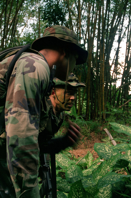 STAFF Sergeant James W. Law, US Air Force 24th Security Forces Squadron (background), shows Corporal Javier Corona, Marine Infantryman of 2D Sensor Control and Management Platoon (SCAMP), a route that smugglers frequently take. They are engaged in a joint trail orientation/jungle patrol in and around the perimeter of Howard Air Force Base, Panama Canal. The perimeter serves to keep the surrounding area of the base within US control and free of smugglers and intruders