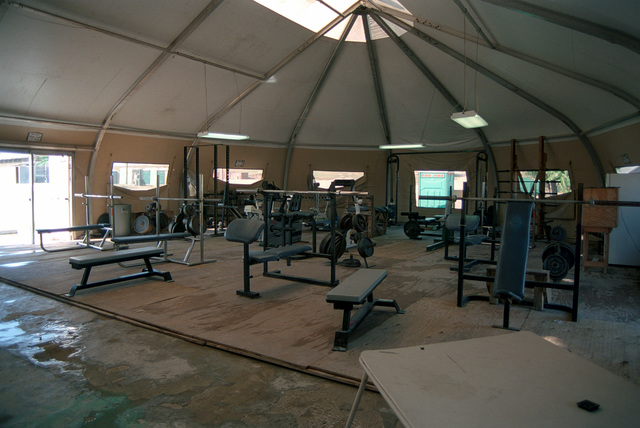 The Marines from 3D Battalion 2D Marines are provided a weight-room facility on Camp Fairwinds as part of US Support Group Haiti (USSGH), Port Au Prince, Haiti, in support of Operation UPHOLD DEMOCRACY