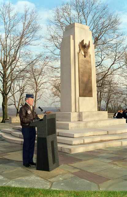 US Air Force Lieutenant General Robert F. Raggid, ASC Commander, addresses guests and visitors at the 95th anniversary of the first powered flight at the Wright Brothers Memorial, Wright-Patterson Air Force Base
