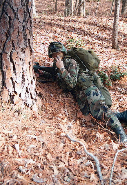 US Army (USA) Private First Class (PFC) Daniel Tuck, Team Leader, B/ Company, 3rd Platoon, 3rd US Infantry Regiment (The Old Guard), participates in a field training exercise at Fort A. P. Hill, Virginia (VA)