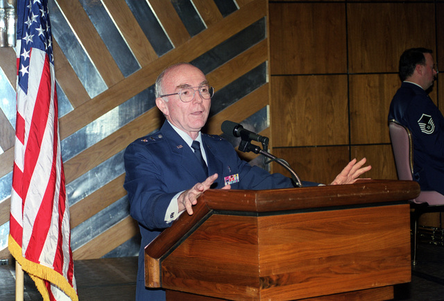 CHIEF of Air Force Chaplin Service, Chaplin, Major General William J. Dendinger, delivers the keynote address during Andrews National Prayer Breakfast Observance, held at the Andrews Officers Club