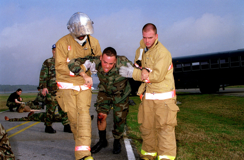 Keesler Air Force Base's Fire Department help the wounded
