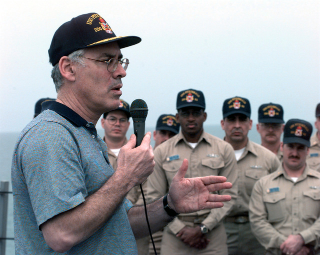I am committed to improving the way you live, train and fight, said Secretary of the Navy Richard Danzig to Sailors gathered on the forecastle of the deployed guided missile destroyer the USS FITZGERALD (DDG 62)