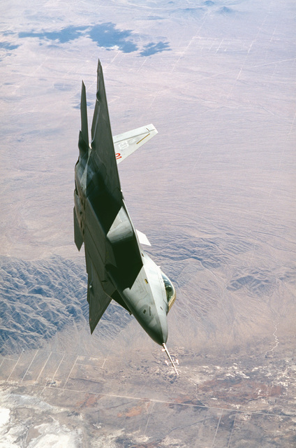 A F-22 Raptor makes one final pass before returning to Edwards Air Force Base, California, on March 1ST, 1999, to undergo further testing as part of the F-22 Combined Test Force including Lockheed, Boeing and Pratt and Whitney