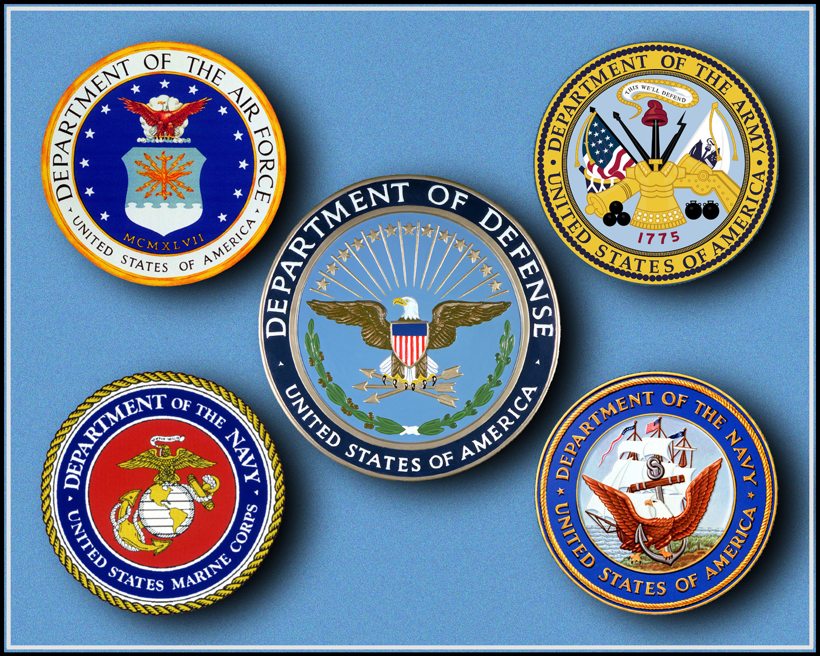 Seal of the Department of Defense (center) with the seals of the four services (clockwise from upper left) United States Air Force, United States Army, United States Navy, and United States Marine Corps