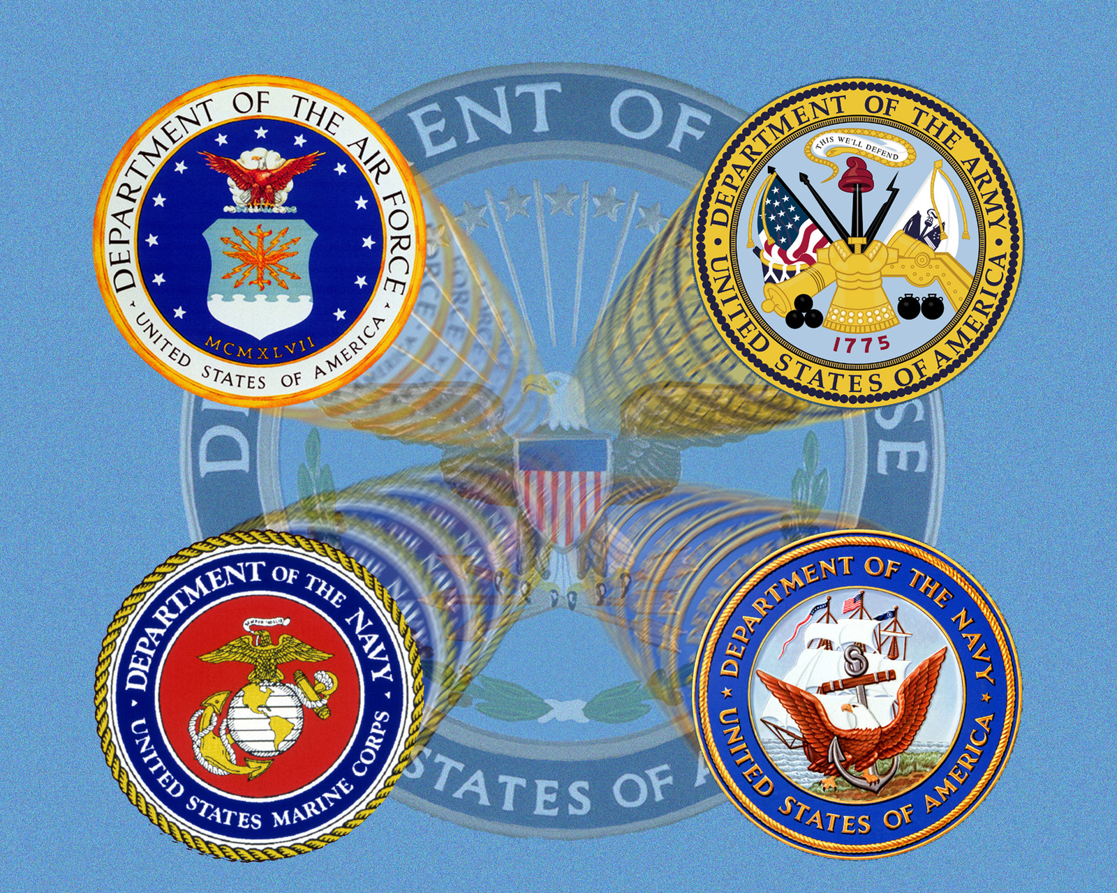 Seal of the four services: (clockwise from upper left) United States Air Force, United States Army, United States Navy, and United States Marine Corps
