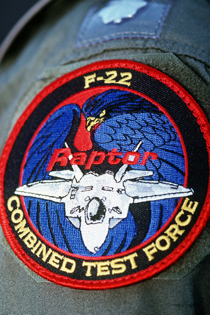 This patch represents the F-22 Raptor which is currently being tested by the F-22 Combined Test Force at Edwards Air Force Base, California. The F-22 is the replacement for the F-15 Eagle air superiority fighter and will become operational early in the next century