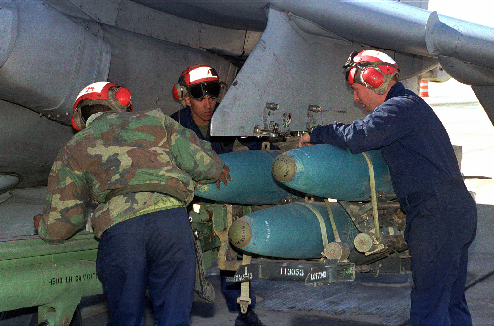 Marines From Fixed Wing Attack Squadron 513 Aviation Ordnance Load 500 Pound MK 84 Inert Training