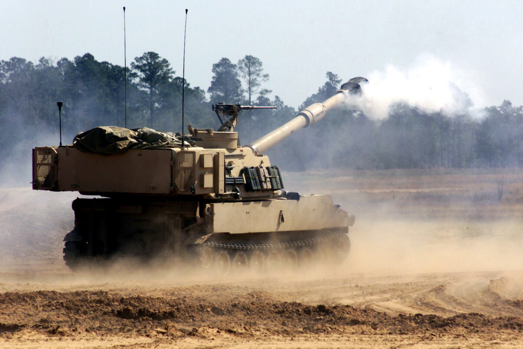 A US Army M109A6 Paladin 155mm Self-Propelled Howitzer, operated by an element of the 1ST of the 41st Field Artillery Battallion, participate in a live fire demonstation at the Muli-Purpose Range Complex (MPRC), during the National War College's visit to the US Army's Training Support Center, Fort Stewart, Georgia