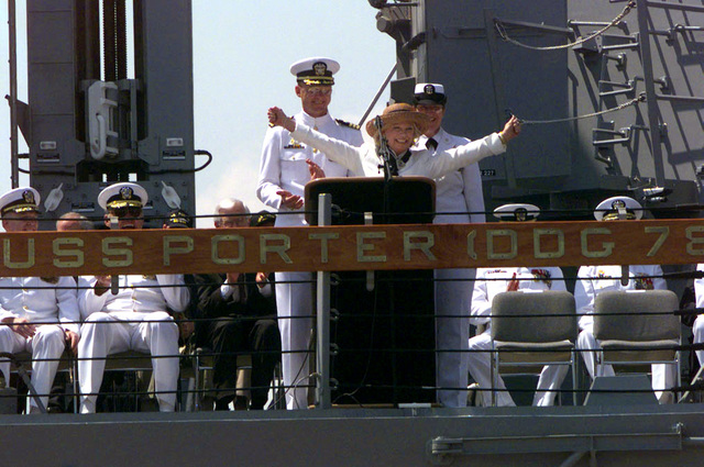 """Mrs. Garland Johnson gives the command to """"bring our ship alive"""" to the crew of USS PORTER (DDG 78), thus ordering the crew to board the Navy's newest guided missile destroyer during the ship's official commissioning ceremony in Port Canaveral, Florida. Mrs. Johnson, the wife of CHIEF of Naval Operations Admiral Jay Johnson, served as the ship's sponsor. Porter will be homeported in Norfolk, Virginia, and commanded by Commander Kenneth V. Spiro"""
