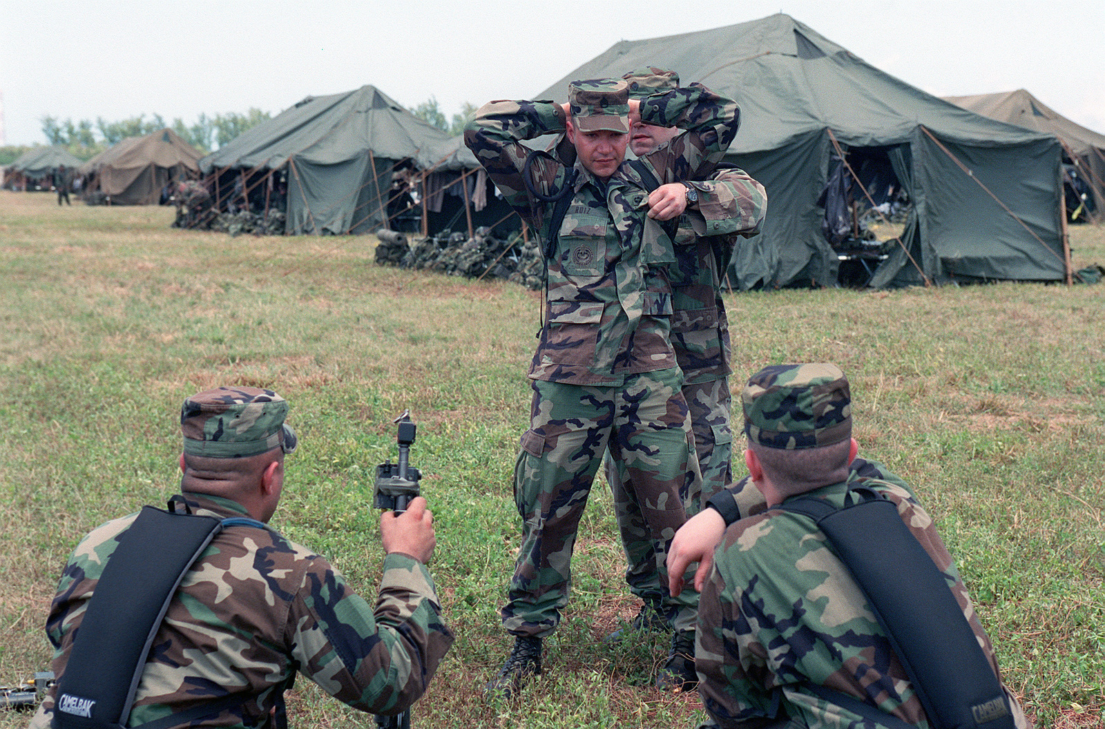 US Army USA Soldiers Assigned To A Company 1ST Battalion 17th Infantry Division Practice Search And Control Of Suspect Techniques Near The Tent City