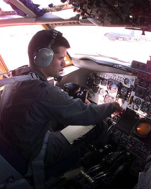 A KC-135 pilot completes his preflight checks prior to a mission support of NATO Operation Allied Force