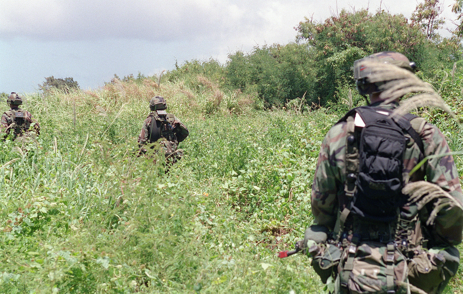 US Army Soldiers 1ST Battalion 17th Infantry Division Patrolling On Tinian Island