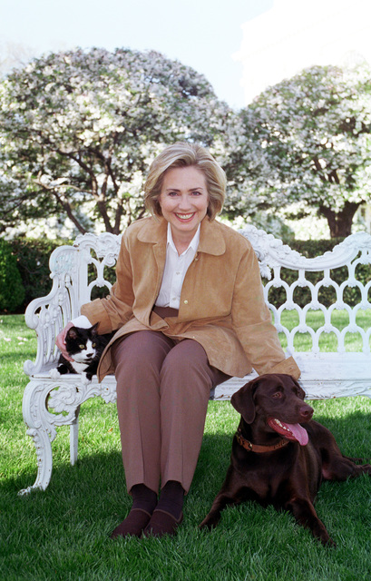 Photograph of First Lady Hillary Rodham Clinton with Socks the Cat and Buddy the Dog