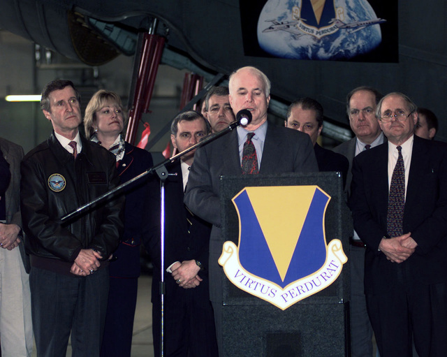 Arizona Senator Edward McCain talks to members of the 37th Airlift Squadron (not shown) at Ramstein Air Base, Germany, on April 8, 1999. Senator McCain accompanied the Secretary of Defense William Cohen on a visit to Ramstein Air Base. Senator McCain said we must win the war with the Former Republic of Yugoslavia, not only for the United States but for the world as a hole. This mission is in direct support of Operation Allied Force