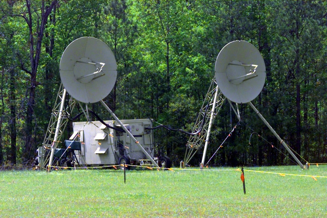 An AN/TRC-170(V) tactical digital tropospheric scatter radio site of the 240th Combat Communications Squadron, South Carolina Air National Guard, McEntire Air National Guard Base, South Carolina, 10 April 1999. PHOTO will be used for the 1999 Airshow display